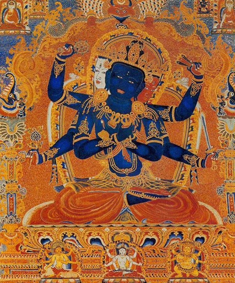 密集金刚与触摸金刚母 唐卡 西藏