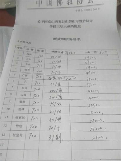 """五台山碧山寺有关""""2017三坛大戒筹备物资""""重要声明"""